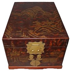Antique Japanese Lacquer Vanity Box with Engraved Scenes