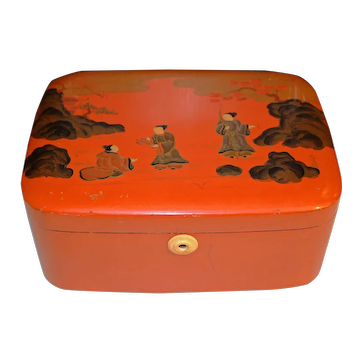 Late Qing/Republic Era Chinese Orange Lacquer Box
