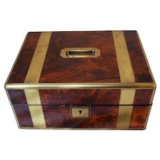 Mid 19th Century English Brass & Walnut Box