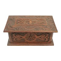 Late 19th Century Gothic Revival Carved Oak Box