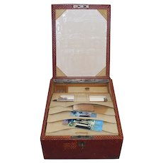 Edwardian English Red Leather Travel Case With Accessories Set