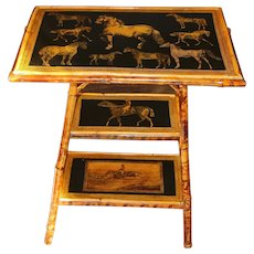 3-Tier Bamboo Table with Decoupaged Horses