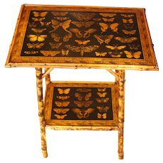 2-Tier Bamboo Table Decoupaged with Butterflies