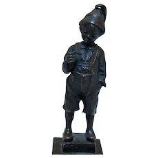 """Bronze Figure of """"Naughty Boy"""" on Marble Base"""