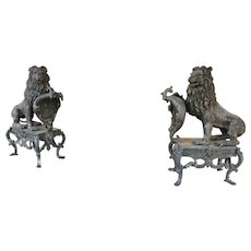 Pair of Bronze Lions on Stands
