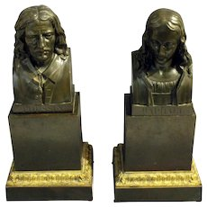 Early 19th Century Pair of Bronze Busts of Poussin and Raphael