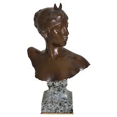 Bronze Bust of Diana Signed by A.Falguiere