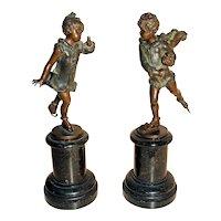 c.1900 German-Austrian Bronzes of Children Skating on Marble - A Pair