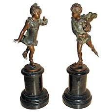 c.1900 German-Austrian Bronzes of Children Skating on Marble - A Pair