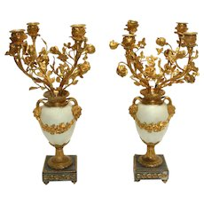 Late 19th Century French Gilt Bronze & Marble 4-light Candelabras - A Pair