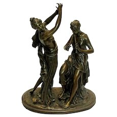 19th Century French Bronze of a Dancer & Musician Signed
