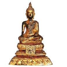 18th Century Thai Gilt Bronze Buddha Sculpture