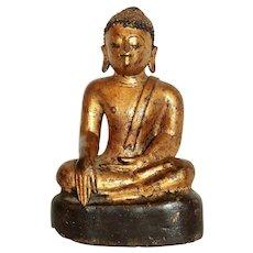 Late 19th Century Thai Gilt Bronze Buddha Sculpture