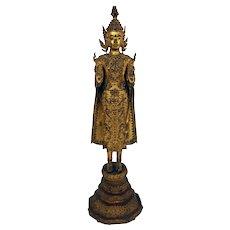 Mid-Late 19th Century Thai Standing Gilt Bronze Buddha