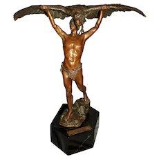 "Early 20th Century Bronze Sculpture ""Herkules mit dem Adler des Prometheus"" by Ludwig Grafner"