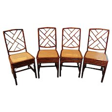 Early 19th Century Chinese Chippendale Bamboo Side Chairs - Set of 4