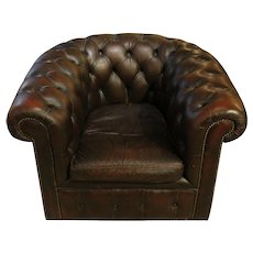 Mid-20th C. English Leather Chesterfield Club Chair