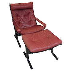 Mid Century Modern Norwegian Leather Arm Chair & Ottoman