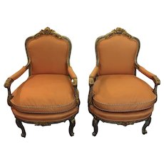 Pair of Louis XVI Style French Fauteuils (Arm Chairs)