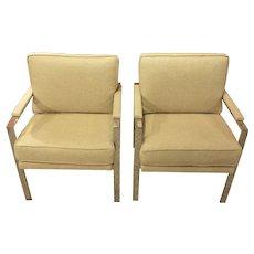 Pair of Mid-Century Modern Chrome Arm Chairs