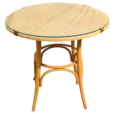 Mid-20th Century Round Side Table by Lloyd Loom