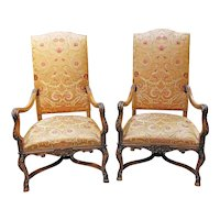 Mid to Late 19th Century French Beech Wood Fauteuils - A Pair