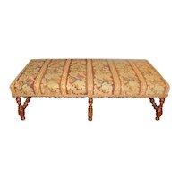 c. 1880 English Upholstered Walnut Bench