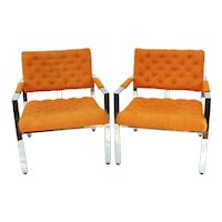 Mid Century Modern Pair of Arm Chairs by Thayer Coggin