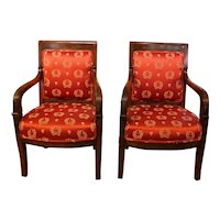 Pair of Empire Fauteuils, French