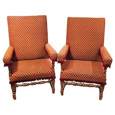 French Louis XIV Walnut Arm Chairs