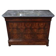 French Flame Mahogany Commode with Marble Top