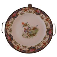 Victorian Transferware Plate with Hot Water Reservoir