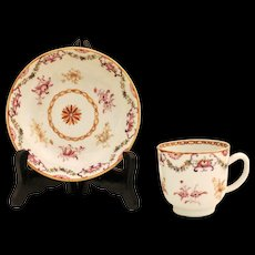 c. 1780 Chinese Export Cup & Saucer
