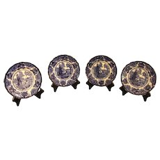 Set of 4 Flow Blue Plates