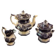 Flow Blue Tea Set, c. 1860