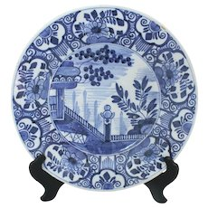 C. 1800 Delft Charger with Asiatic Scene