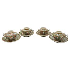 Four Chinese Export Covered Bouillon Cups & Saucers