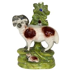 Staffordshire figure of a ram & lamb