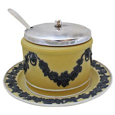 Wedgwood Jasperware Mustard or Jam Pot