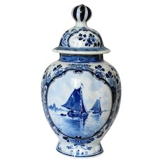 Blue and White Delft Covered Jar, c. 1870