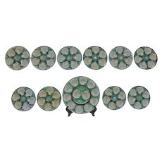 French Majolica Oyster Plates- Platter & Set of 10