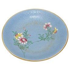Light Blue Sgraffito Ground Famille Rose Dish