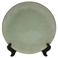 Late Qing Dynasty Celadon Charger with Floral Design
