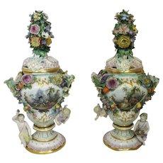 Pair of Floral Meissen Urns