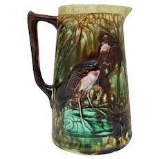 Majolica Pitcher w/ Storks & Lilly Pads
