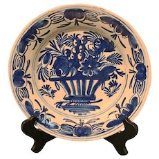 Late 18th Century Delft Plate, Basket of Flowers Motif