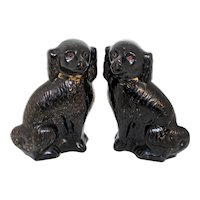 Late 19th Century English Staffordshire Large Spaniels - a Pair