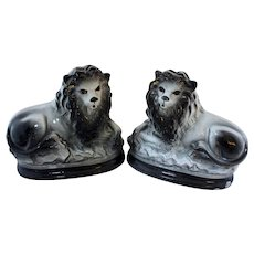 Late 19th Century English Staffordshire Grey Lions - a Pair
