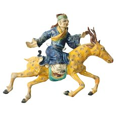 Early 19th Century Qing Dynasty Polychrome Figure Riding Stag Pottery Roof Tile