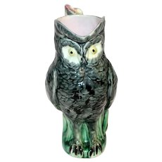 Late 19th Century Majolica Owl Pitcher